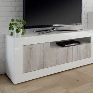porta tv bianco lucido e pino bianco